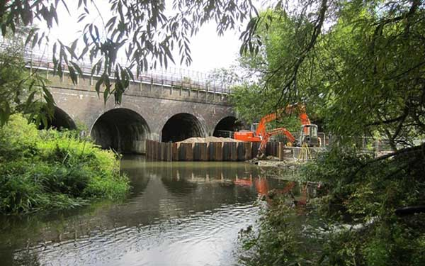 Scour Protection of Rail Bridge Foundations, Watford, Hertfordshire